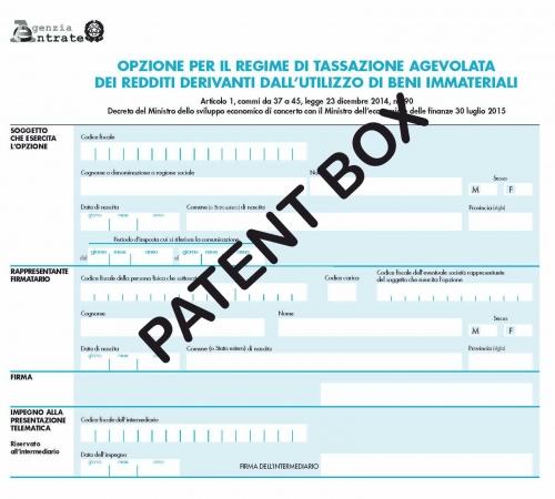 """Marchi e brevetti: modulo per l'agevolazione """"Patent Box"""""""